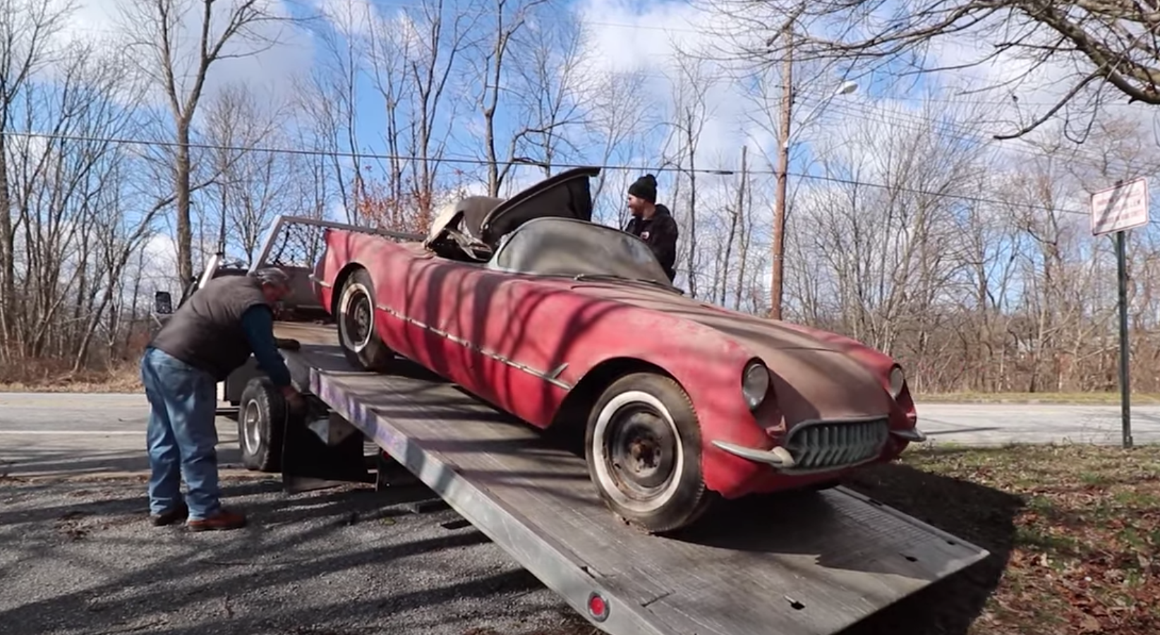 """<img src=""""1954-barn-find-vette.png"""" alt=""""A rare 1954 Corvette pulled from where it had been parked since 1968"""">"""