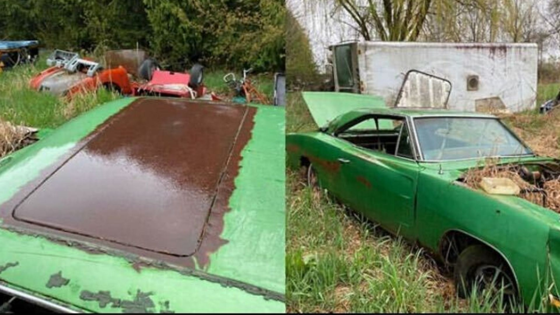 Left For Dead In A Field, Sunroof 1969 Dodge Charger Rescued