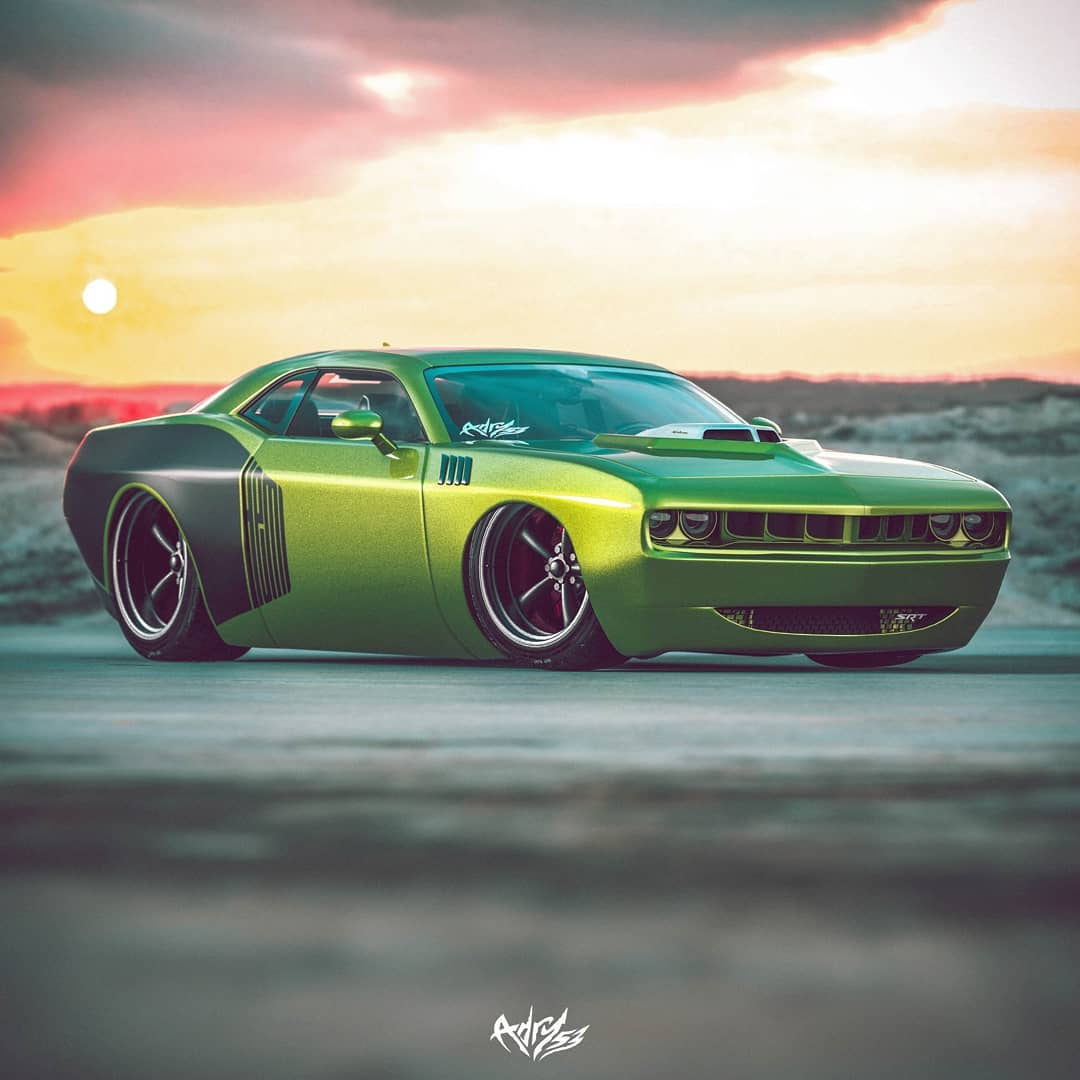"<img src=""plymouth-cuda-5.jpg"" alt=""Rendering of a vintage Plymouth 'Cuda mashed with a modern Dodge Challenger"">"
