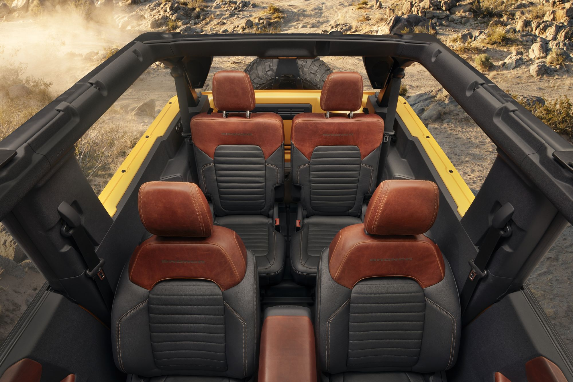 """<img src=""""removable roof.jpeg"""" alt=""""The 2021 Ford Bronco features a removable roof and removable doors"""">"""
