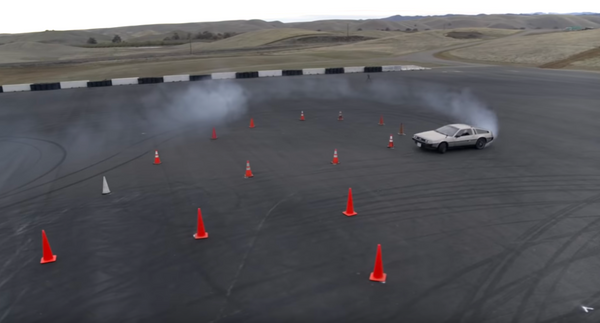 Watch A Self-Driving DeLorean Drift An Autocross Course With Ease