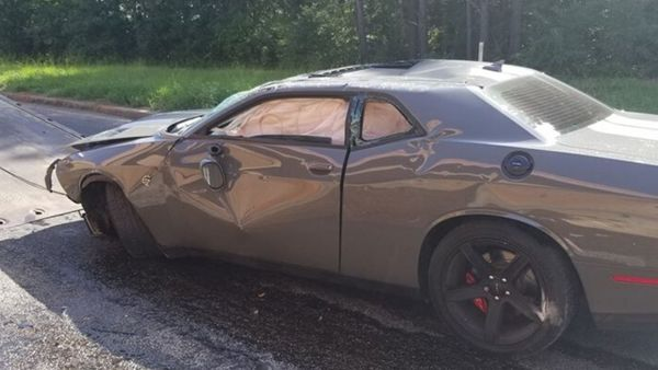 Dodge Challenger Hellcat Crashed In Getaway Attempt