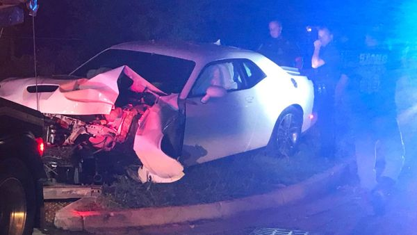 Dodge Challenger Crashed During Police Pursuit