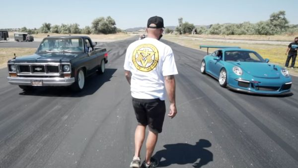 Porsche 911 GT3 Races A Chevy C10 With LS3 Swap