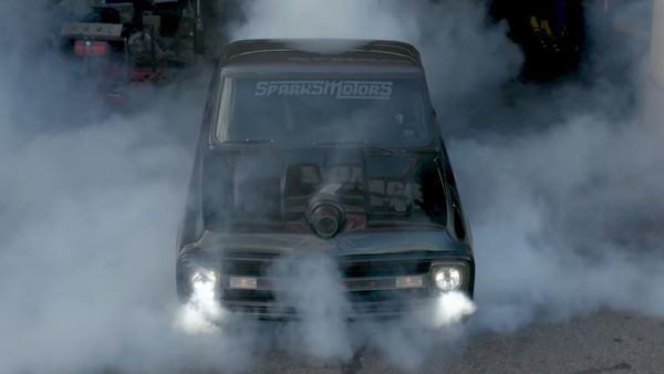 Slammed Twin-Turbo Duramax Chevy C10 Rips Epic Burnouts