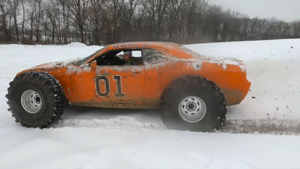 Dodge Challenger Rolls Hard In Snow